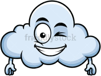 Winking and smiling cloud emoticon. PNG - JPG and vector EPS file formats (infinitely scalable). Image isolated on transparent background.