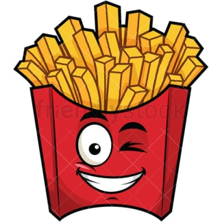 Winking and smiling french fries emoticon. PNG - JPG and vector EPS file formats (infinitely scalable). Image isolated on transparent background.