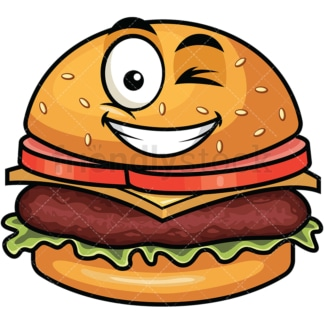 Winking and smiling hamburger emoticon. PNG - JPG and vector EPS file formats (infinitely scalable). Image isolated on transparent background.