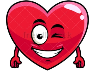 Winking and smiling heart emoticon. PNG - JPG and vector EPS file formats (infinitely scalable). Image isolated on transparent background.