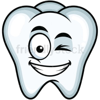 Winking and smiling tooth emoticon. PNG - JPG and vector EPS file formats (infinitely scalable). Image isolated on transparent background.