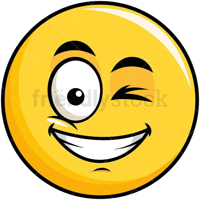 winking and smiling yellow smiley emoji cartoon vector