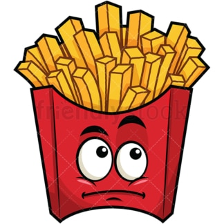 Wondering french fries emoticon. PNG - JPG and vector EPS file formats (infinitely scalable). Image isolated on transparent background.