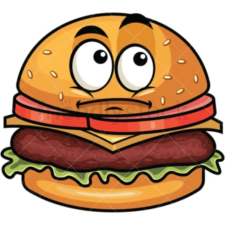 Wondering hamburger emoticon. PNG - JPG and vector EPS file formats (infinitely scalable). Image isolated on transparent background.
