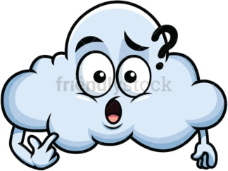 Confused cloud emoticon. PNG - JPG and vector EPS file formats (infinitely scalable). Image isolated on transparent background.