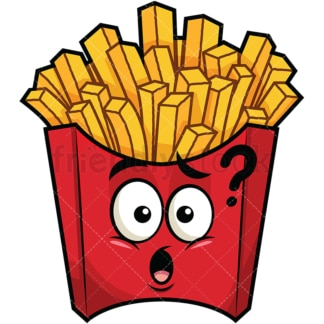 Confused french fries emoticon. PNG - JPG and vector EPS file formats (infinitely scalable). Image isolated on transparent background.