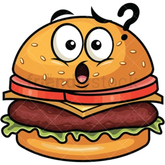 Confused hamburger emoticon. PNG - JPG and vector EPS file formats (infinitely scalable). Image isolated on transparent background.