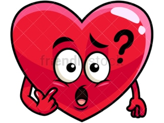 Confused heart emoticon. PNG - JPG and vector EPS file formats (infinitely scalable). Image isolated on transparent background.