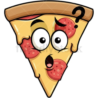 Confused pizza emoticon. PNG - JPG and vector EPS file formats (infinitely scalable). Image isolated on transparent background.
