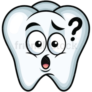 Confused tooth emoticon. PNG - JPG and vector EPS file formats (infinitely scalable). Image isolated on transparent background.