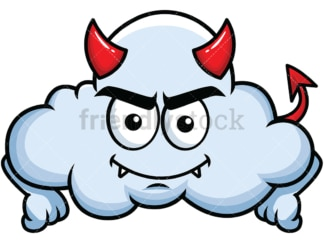 Crafty devil cloud emoticon. PNG - JPG and vector EPS file formats (infinitely scalable). Image isolated on transparent background.