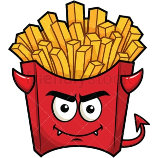 Crafty devil french fries emoticon. PNG - JPG and vector EPS file formats (infinitely scalable). Image isolated on transparent background.