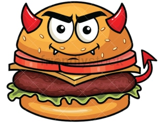 Crafty devil hamburger emoticon. PNG - JPG and vector EPS file formats (infinitely scalable). Image isolated on transparent background.