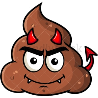 Crafty devil poop emoticon. PNG - JPG and vector EPS file formats (infinitely scalable). Image isolated on transparent background.