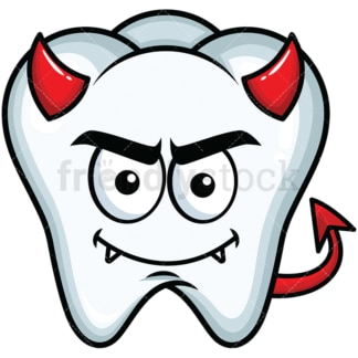 Crafty devil tooth emoticon. PNG - JPG and vector EPS file formats (infinitely scalable). Image isolated on transparent background.