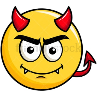 Crafty devil yellow smiley emoticon. PNG - JPG and vector EPS file formats (infinitely scalable). Image isolated on transparent background.