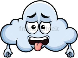 Disgusted cloud emoticon. PNG - JPG and vector EPS file formats (infinitely scalable). Image isolated on transparent background.