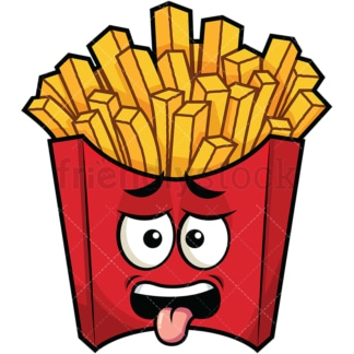 Disgusted french fries emoticon. PNG - JPG and vector EPS file formats (infinitely scalable). Image isolated on transparent background.