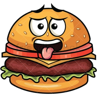 Disgusted hamburger emoticon. PNG - JPG and vector EPS file formats (infinitely scalable). Image isolated on transparent background.