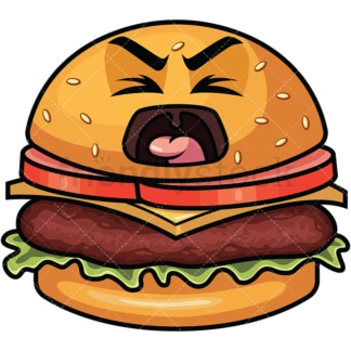 Yelling hamburger emoticon. PNG - JPG and vector EPS file formats (infinitely scalable). Image isolated on transparent background.