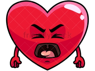 Yelling heart emoticon. PNG - JPG and vector EPS file formats (infinitely scalable). Image isolated on transparent background.