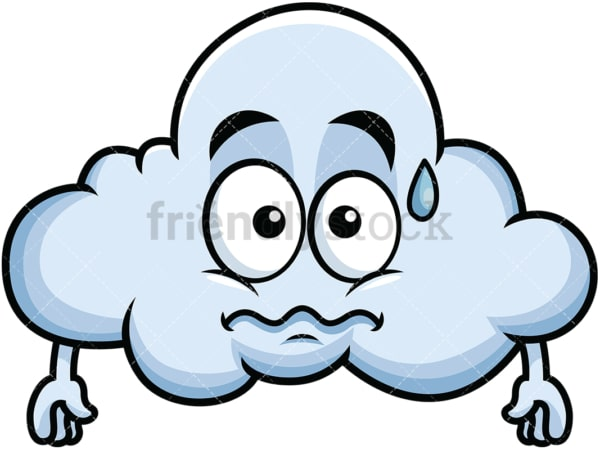 Nervous cloud emoticon. PNG - JPG and vector EPS file formats (infinitely scalable). Image isolated on transparent background.