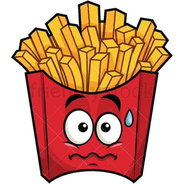 Nervous french fries emoticon. PNG - JPG and vector EPS file formats (infinitely scalable). Image isolated on transparent background.