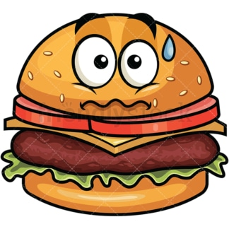 Nervous hamburger emoticon. PNG - JPG and vector EPS file formats (infinitely scalable). Image isolated on transparent background.