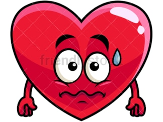 Nervous heart emoticon. PNG - JPG and vector EPS file formats (infinitely scalable). Image isolated on transparent background.