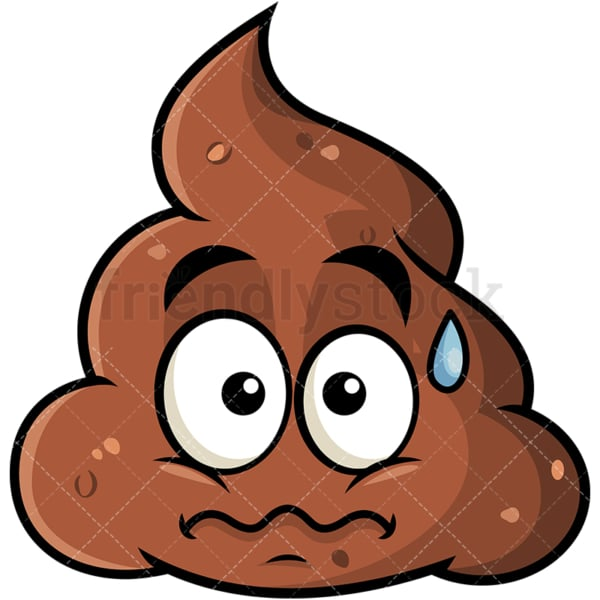 Nervous poop emoticon. PNG - JPG and vector EPS file formats (infinitely scalable). Image isolated on transparent background.