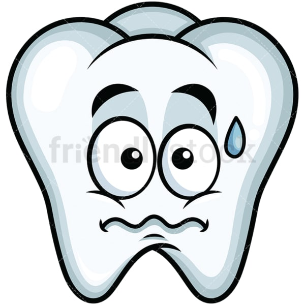 Nervous tooth emoticon. PNG - JPG and vector EPS file formats (infinitely scalable). Image isolated on transparent background.