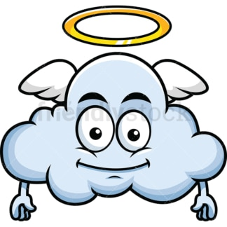 With wings and halo cloud emoticon. PNG - JPG and vector EPS file formats (infinitely scalable). Image isolated on transparent background.