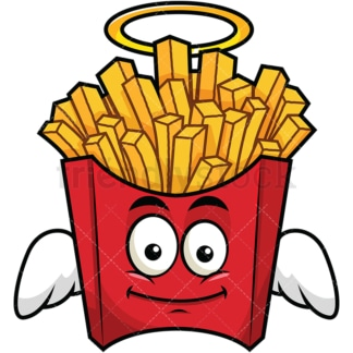 Winged angel french fries emoticon. PNG - JPG and vector EPS file formats (infinitely scalable). Image isolated on transparent background.