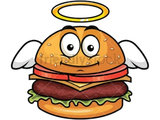 With wings and halo hamburger emoticon. PNG - JPG and vector EPS file formats (infinitely scalable). Image isolated on transparent background.