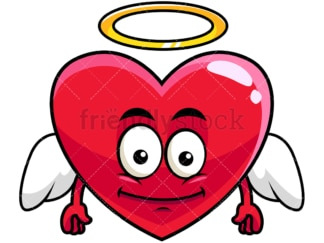 Winged angel heart emoticon. PNG - JPG and vector EPS file formats (infinitely scalable). Image isolated on transparent background.