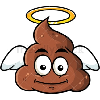 Winged angel poop emoticon. PNG - JPG and vector EPS file formats (infinitely scalable). Image isolated on transparent background.