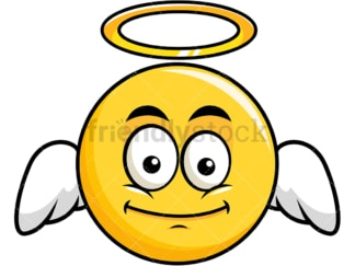 Winged angel yellow smiley emoticon. PNG - JPG and vector EPS file formats (infinitely scalable). Image isolated on transparent background.