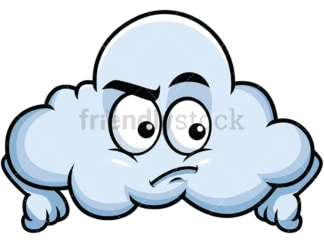 Irritated cloud emoticon. PNG - JPG and vector EPS file formats (infinitely scalable). Image isolated on transparent background.