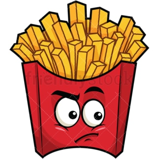 Irritated french fries emoticon. PNG - JPG and vector EPS file formats (infinitely scalable). Image isolated on transparent background.