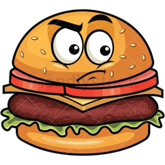 Irritated hamburger emoticon. PNG - JPG and vector EPS file formats (infinitely scalable). Image isolated on transparent background.