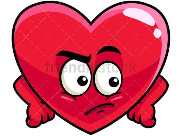 Irritated heart emoticon. PNG - JPG and vector EPS file formats (infinitely scalable). Image isolated on transparent background.