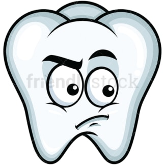 Irritated tooth emoticon. PNG - JPG and vector EPS file formats (infinitely scalable). Image isolated on transparent background.