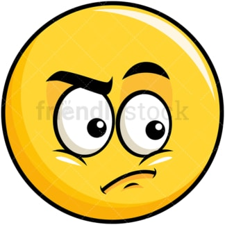 Irritated yellow smiley emoticon. PNG - JPG and vector EPS file formats (infinitely scalable). Image isolated on transparent background.