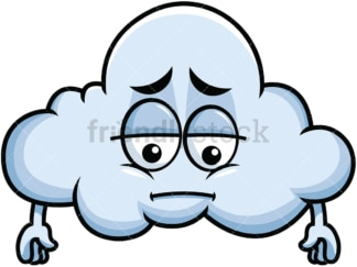 Depressed cloud emoticon. PNG - JPG and vector EPS file formats (infinitely scalable). Image isolated on transparent background.