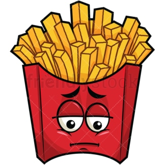 Depressed french fries emoticon. PNG - JPG and vector EPS file formats (infinitely scalable). Image isolated on transparent background.