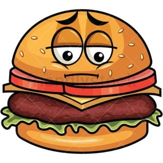 Depressed hamburger emoticon. PNG - JPG and vector EPS file formats (infinitely scalable). Image isolated on transparent background.