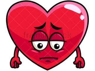 Depressed heart emoticon. PNG - JPG and vector EPS file formats (infinitely scalable). Image isolated on transparent background.