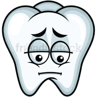Depressed tooth emoticon. PNG - JPG and vector EPS file formats (infinitely scalable). Image isolated on transparent background.