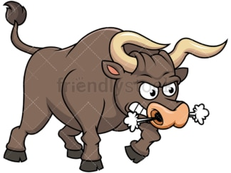 Angry bull blowing smoke. PNG - JPG and vector EPS file formats (infinitely scalable). Image isolated on transparent background.