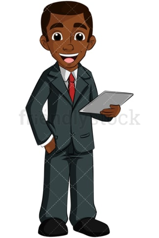 Black business man holding tablet. PNG - JPG and vector EPS (infinitely scalable). Image isolated on transparent background.
